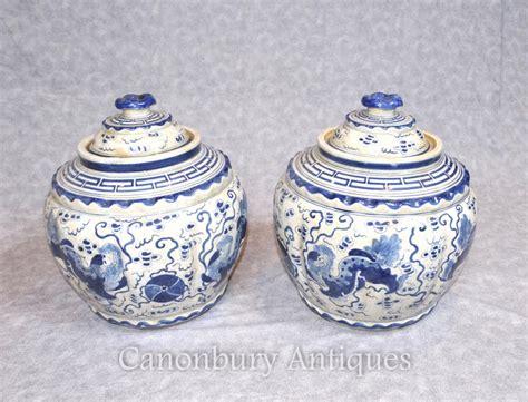 Ceramic Urns And Vases by Pair Kangxi Ceramic Lidded Urns Vases Pots Blue