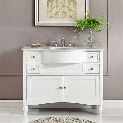 Bathroom Vanity 45 Inch 45 Inch Single Sink Contemporary White Bathroom Vanity Carrara White Marble Top