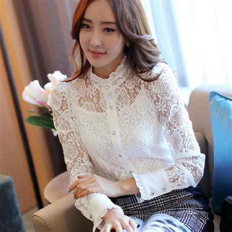Lacy Ruffle Blouse Top 2015 new turtleneck ruffle lace blouse for flower diamonds sleeve office work