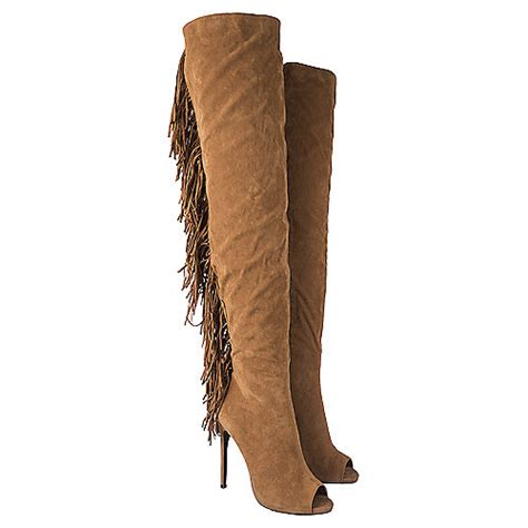 s thigh high fringe boot camel shiekh shoes