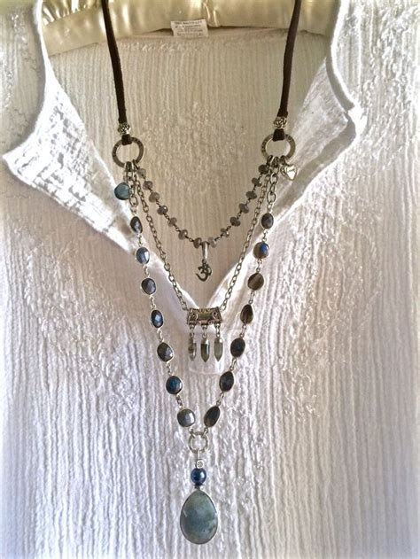 Gelang Fashion Gemstone Bohemian labradorite lover strand boho necklace beaded chains om charm silver leather sundance