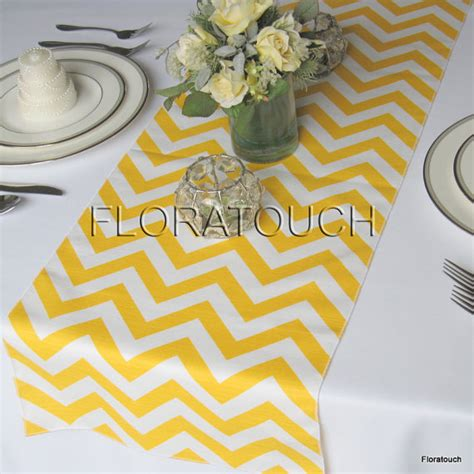 yellow chevron table runner yellow and white zigzag wedding