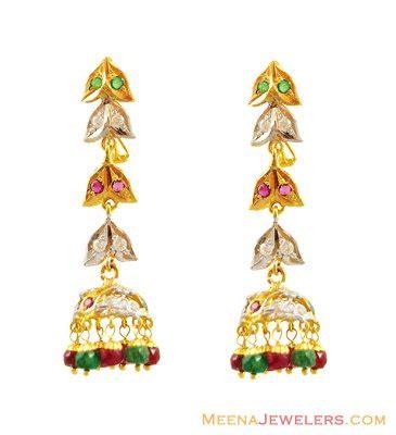 Nibras Emerland Pastan Syiria L 11 22k emerald ruby earrings erps13998 22kt gold