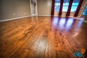 closeup of gorgeous hand scraped hardwood floors showmeokc