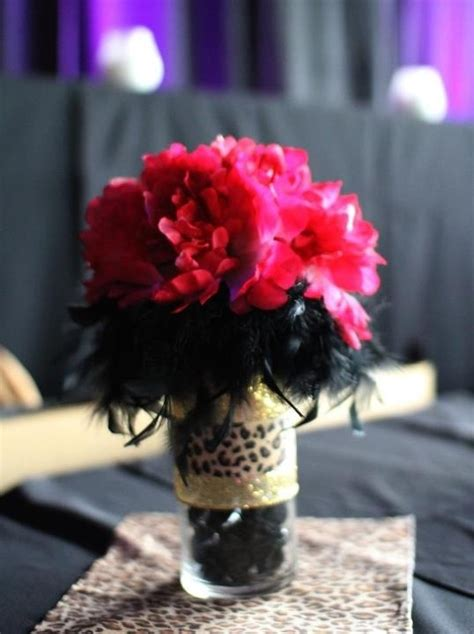 30th birthday centerpieces cheetah print feathers stones