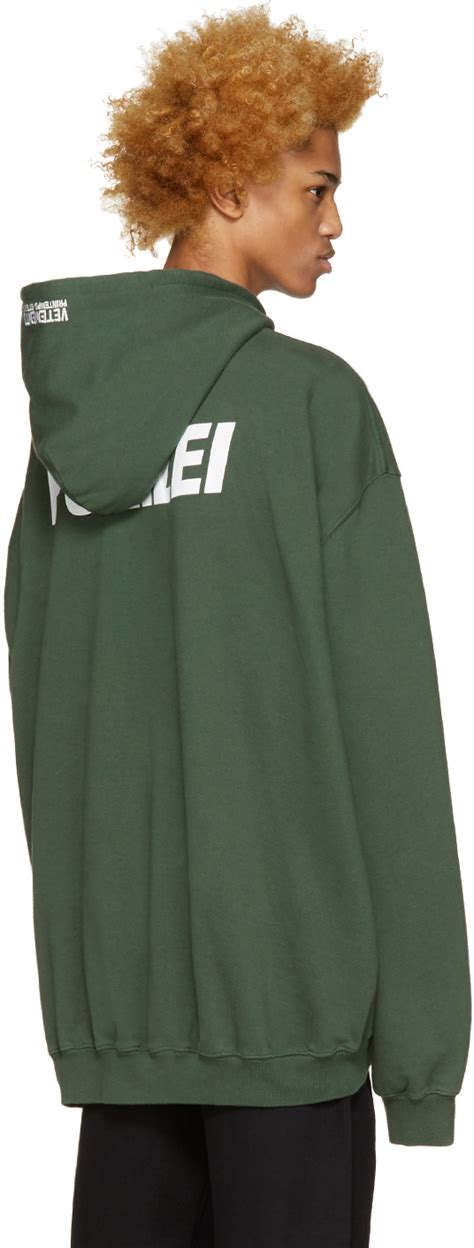 vetements green polizei hoodie in green for lyst