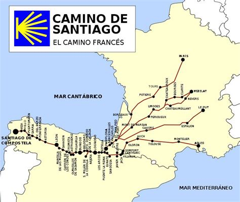 El Camino Map by Map Of El Camino De Santiago For Our