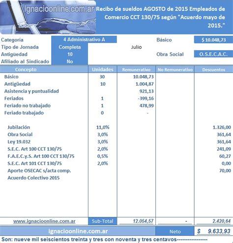 calculadora online de sueldo empleado d comercio empleados de comercio liquidaci 243 n agosto 2015 ignacio