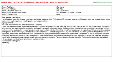 Description Title Nuclear Medicine Technologist by Patient Care Tech Med Surg Ortho Application Letters