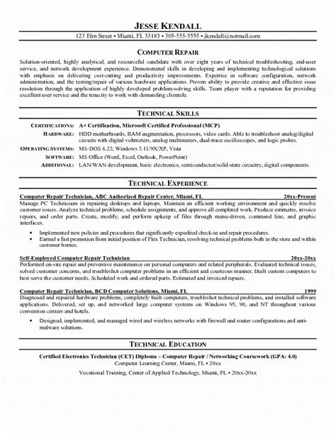 computer technician resume sle jennywashere