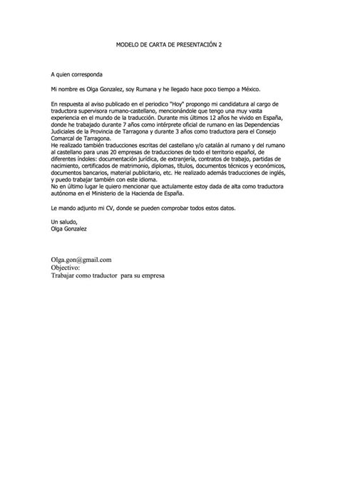 Ejemplo Modelo Carta De Presentación De Curriculum Vitae A Una Empresa Modelo De Carta De Presentacion De Curriculum Modelo De Curriculum