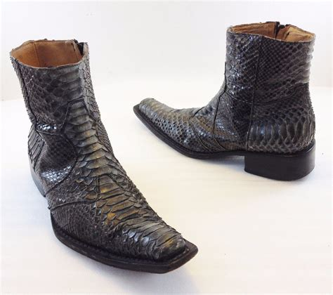 kenneth cole gray snakeskin leather cowboy ankle boots