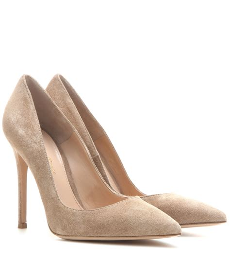 beige shoes gianvito suede pumps in lyst
