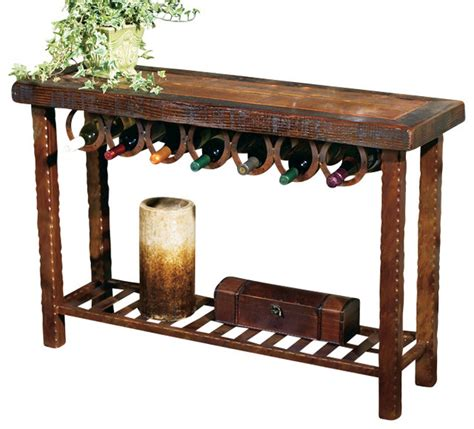Wine Rack Dining Table Horseshoe Wine Rack Table Rustic Dining Tables By Black Forest Decor