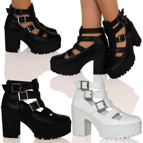 a7q womens mid heel cut out buckle cleated sole