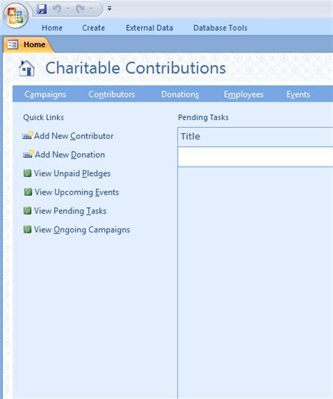 Charitable Contributions Database Template Non Profit Database Template Ms Access Templates Microsoft Access Donor Database Template