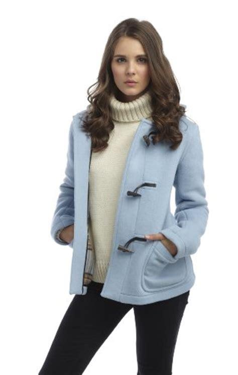 womens short duffle coat baby blue