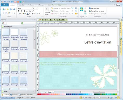 invitation card software edraw max logiciel de diagramme logiciel cr 233 ation de