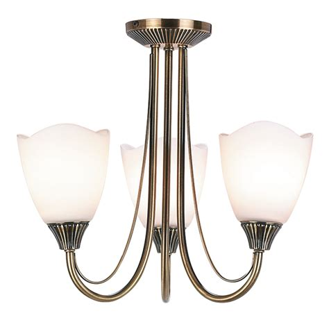 Brass Ceiling Light Fittings Haughton 3 Light Fitting In Antique Brass With Glass Shades Endon 601 3an