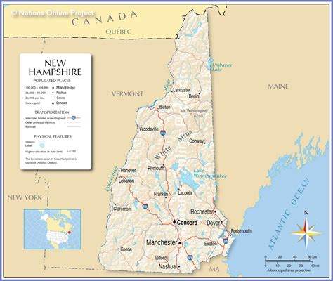 new hshire population map reference map of new hshire usa nations project