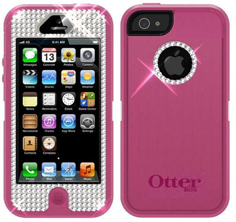 Iphone 5 Iphone 5s Shining Glitters Soft Pinkwhite swarovski otterbox defender cover for iphone 5 with belt clip pink on etsy 49