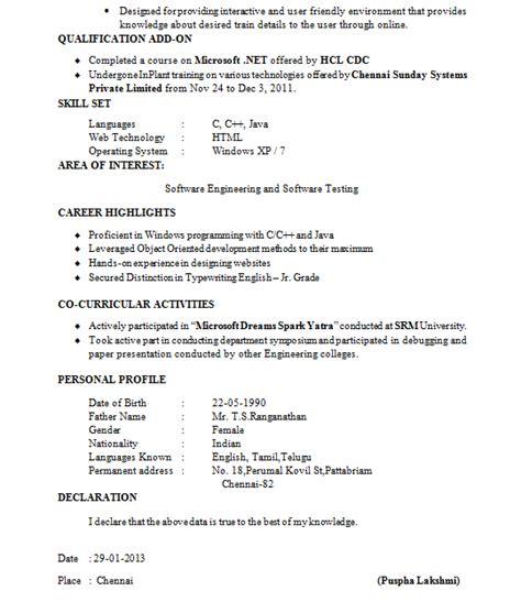 declaration format in resume for freshers fresher resume format it professional