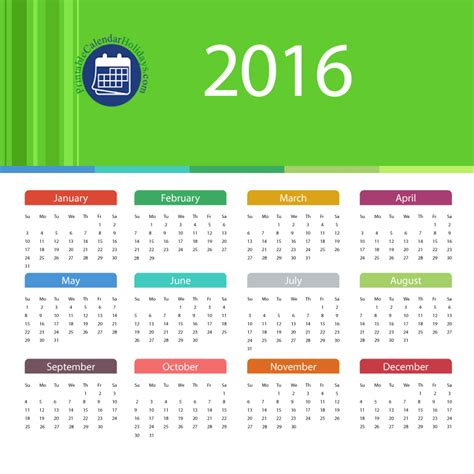Calendar Template Pdf 2016 2016 Calendar Template Pdf With 12 Months On One Page