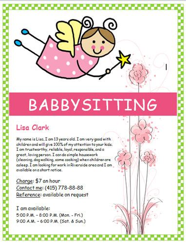 free babysitting flyers templates ideas and sles
