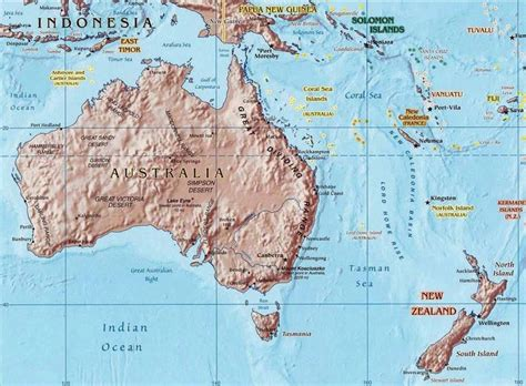 map of australia and new zealand australia and new zealand