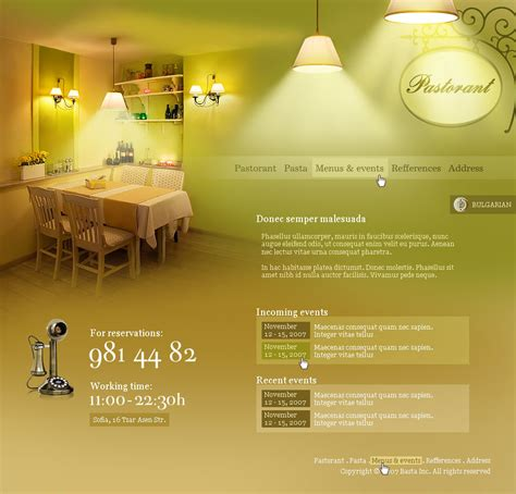 beautiful website pastorant restaurant by kpucu on deviantart