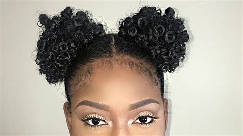 two puff balls on natural hair tutorial youtube