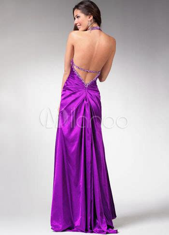 Gamis Sateen Purple one and only purple stretch satin evening dress milanoo