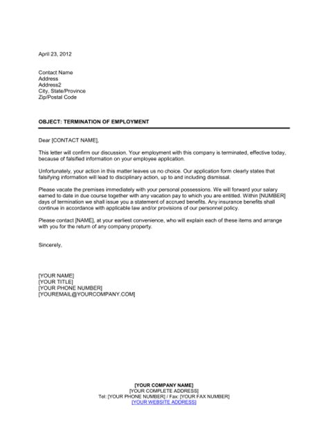 Employee Termination Letter Sle Doc Template Termination Of Employment 28 Images Letter Of Employment Fotolip Rich Image And