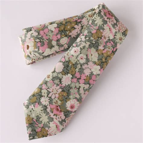 Handmade Prints - handmade floral liberty print tie thorpe pink and green