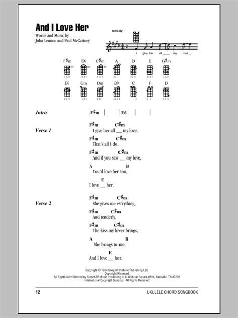 strumming pattern ukulele you and i and i love her sheet music by the beatles ukulele with