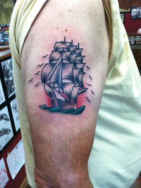 ship and rose tattoo tattoos david meek tattoos