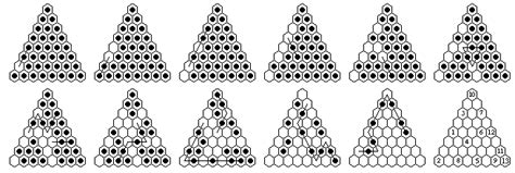 pattern for triangle peg game peg solitaire on large triangular boards