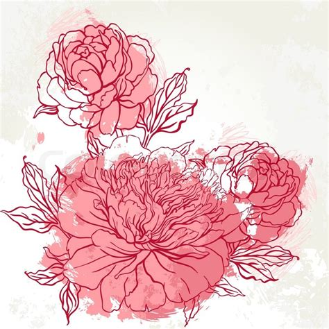 beautiful peony bouquet design on beige background hand