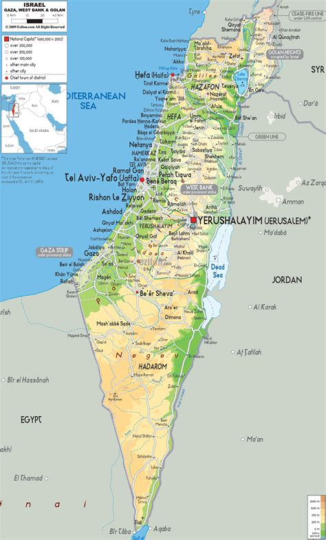 map of isreal physical map of israel ezilon maps