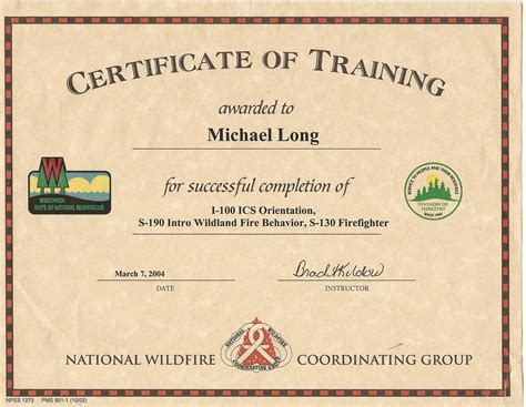 28 nwcg certificate template risk management