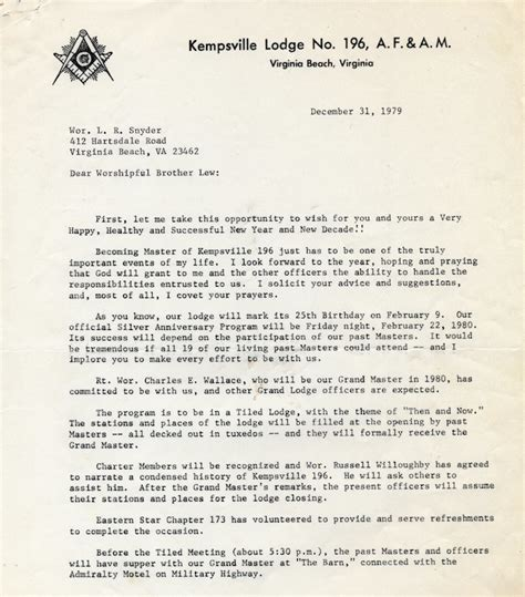 Award Recipient Invitation Letter Kempsville Lodge No 196 1980