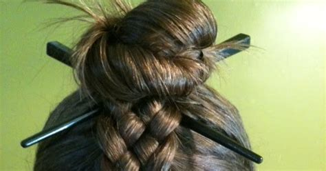 hair plait with chopstick random ramblings 5 strand braid and chopstick bun