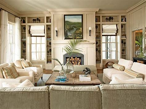 eclectic living room decorating ideas neutral beige colors fireplace white sofa chairs furnishings home decor livinator
