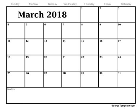 free blank calendar template march 2018 free 5 march 2018 calendar printable template source