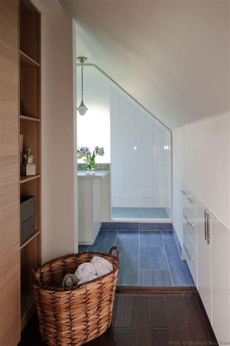 bathroom slope giant shower with sloped ceilings vanity in center of