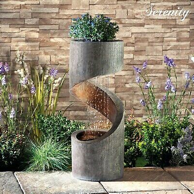 serenity spiral cascade water feature planter led cm