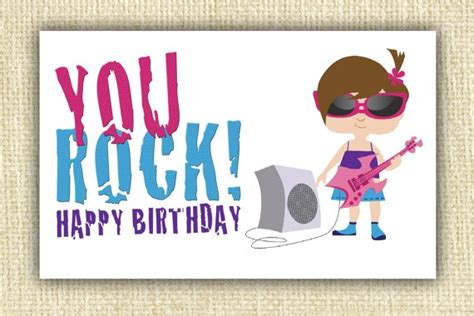printable birthday cards girl you rock happy birthday pdf printable card cards