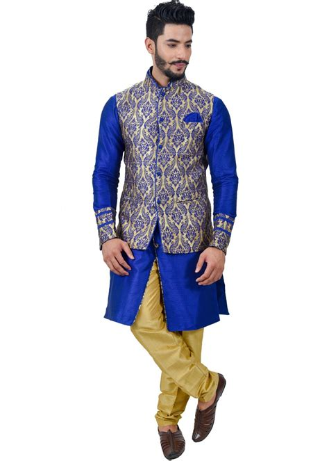 design house kurta online readymade royal blue art silk kurta pyjama with nehru