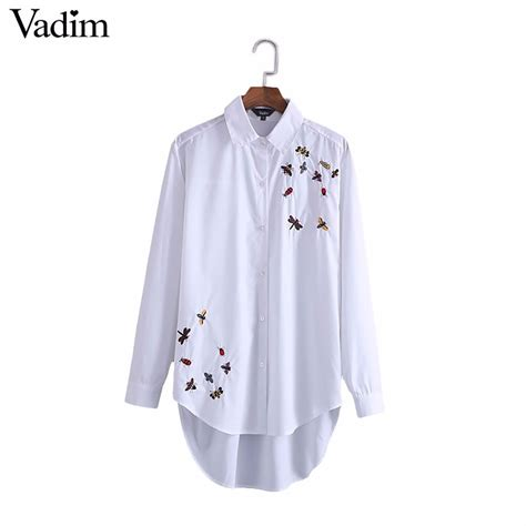 Ladybugs Blouse Size S bees insects embroidery white blouse dragonfly ladybug pattern shirts office