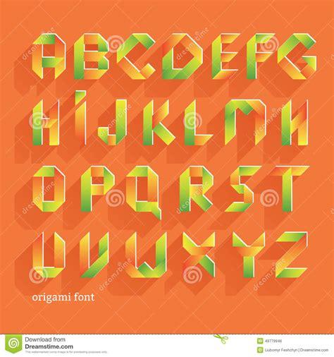 Origami Font - origami orange flat font vector alphabet set